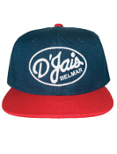 D'Jais Raised Stitch Navy and Red Snap Back Hat