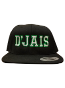 D'Jais Black and White/Green Snap Back Hat