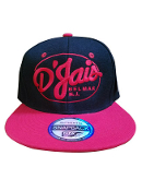 D'Jais Red Oval Logo Full Black Snap Back Hat