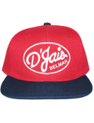 D'Jais Raised Stitch Red and Navy Snap Back Hat